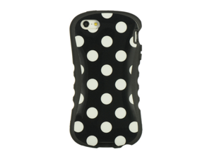 Apple iPhone 5 Hybrid Silicone and Plastic Fancy Style Case (White Dots) (Black)
