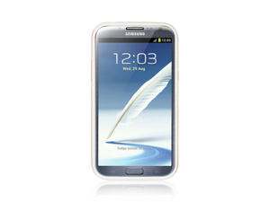 Samsung Galaxy Note 2 EZ-Grip Hybrid Case Hard Plastic Frame on TPU Silicone Skin (Red on White)