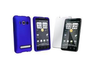 Fosmon Screen Protector + Snap-on Rubber Coated Case for HTC EVO 4G