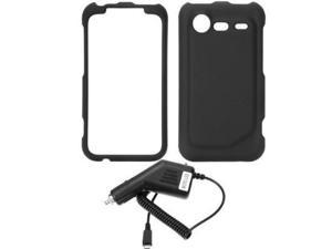 Fosmon Rubberized Snap on Hard Cover Case + Car Charger for Verizon HTC Droid 6350 Incredible 2