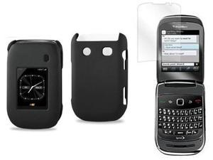 Fosmon Snap On Rubberized Hard Protector Case + Car Charger for Blackberry Style 9670