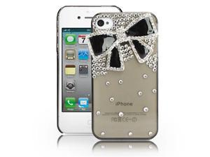 Fosmon 3D Bling Crystal Design Case for iPhone 4 / 4S - Clear with Black Rhinestone Bow