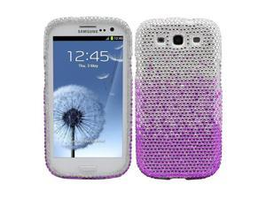 Fosmon Bling Crystal Case for Samsung Galaxy S3 / SIII - Purple Waterfall Rhinestone