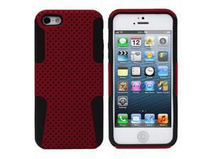 Fosmon HYBO Series Mesh Design Hybrid Case for Apple iPhone 5 / 5S - Red / Black
