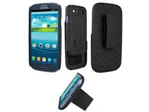 Verizon Criss-Cross Shell / Holster Combo with Kickstand for Samsung Galaxy S III / S3 - Black (Bulk Packaging)