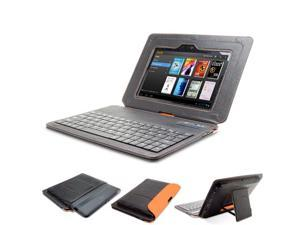 GreatShield LEAN Series Ultra Slim Leather Case with Keyboard and Stand for Amazon Kindle Fire HD 7 inch Tablet (Black / ...