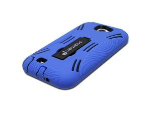 Fosmon HYBO Series Hybrid Silicone+PC Case w/ Stand for Samsung Galaxy Note II / 2 (Blue / Black)