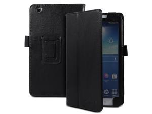 Fosmon OPUS Series Folding Leather Case with Stand, Stylus and Sleep/Wake Function for Samsung Galaxy Tab 3 8.0 Tablet (Black)