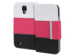 Fosmon CADDY Series Leather Wallet Case for Samsung Galaxy S4 Active / I9295 / SGH-I537 (White / Pink / Black)