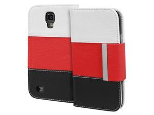 Fosmon CADDY Series Leather Wallet Case for Samsung Galaxy S4 Active / I9295 / SGH-I537 (White / Red / Black)