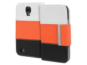 Fosmon CADDY Series Leather Wallet Case for Samsung Galaxy S4 Active / I9295 / SGH-I537 (White / Orange / Black)