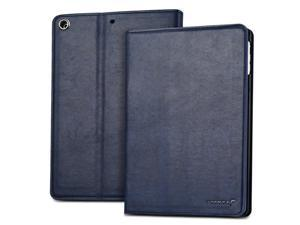"Fosmon OPUS-CLASSIC Series Leather Folio Stand Case with Sleep / Wake Function for Apple iPad Air 9.7"" Tablet - Blue"