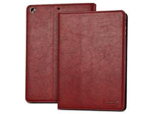 "Fosmon OPUS-CLASSIC Series Leather Folio Stand Case with Sleep / Wake Function for Apple iPad Air 9.7"" Tablet - Red"