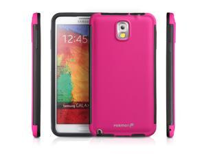 Fosmon Samsung Galaxy Note 3 III (HYBO-SNAP) Full-Body Hybrid Protective Case Cover with Built-In Screen Protector - Pink