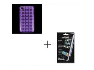 Crystal Clear Transparent Purple Checker TPU Case and Crystal Clear Screen Protector with Small Microfiber Cloth For Apple ...