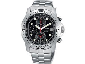 Pulsar PF3427 Stainless Steel Chronograph Black Dial Alarm