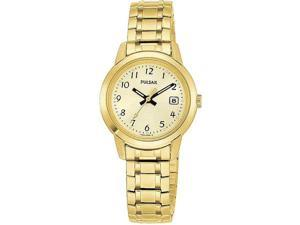 Pulsar PH7030 Gold Tone Stainless Steel Champagne Dial Dress Watch with Expansion Bracelet