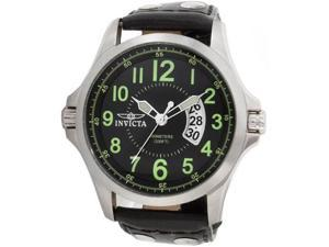 Invicta 0789 Stainless Steel Quartz Black Dial Leather Strap