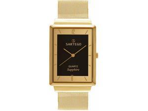 Sartego SVS821 Ultra Thin Gold Tone Dress Black Dial Mesh Band