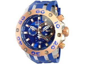 Invicta 0910 Rose Two Tone Reserve Diver Chronograph Swiss Quartz Blue Strap