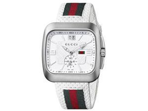 Gucci G-Coupe Leather White Dial Men's Watch #YA131303