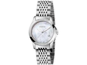 Gucci G-timeless Diamond Mother of Pearl Dial Ladies Watch YA126510