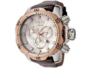 Invicta 0359 Rose Gold Two Tone Reserve Vemon Swiss Quartz Silver Tone Dial 1000M Diver