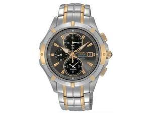 Seiko Coutura Black Dial Two Tone Stainless Steel Mens Watch SNAE56
