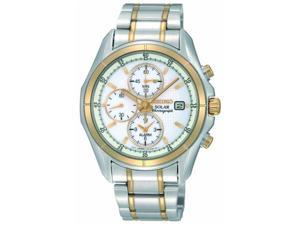 Seiko Solar White Dial Two Tone Stainless Steel Mens Watch SSC002