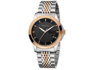 Gucci YA126410 Rose Two Tone Timeless Dress Quartz Link Bracelet Black Dial