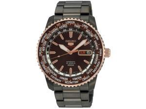 Seiko SRP132 Black Stainless Steel Automatic Rose Two Tone Brown Dial World Time Bezel