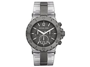 Michael Kors MK5500 Clear Plastic Link Bracelet Quartz Chronograph Gunmetal Stainless Steel
