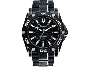 Bulova 98B153 Black Precisionist Champlain Quartz Blue Accents