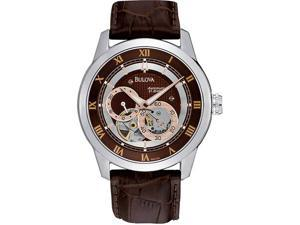 Bulova Brown Dial Leather Strap Mechanical Mens Watch 96A120