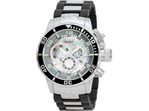 Invicta 0476 Corduba Quartz Chronograph Mother Of Pearl Dial Black Rubber Link Bracelet