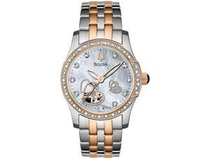 Bulova 98R154 Two Tone Stainless Steel Heart Skeleton Automatic Mother of Pearl Dial