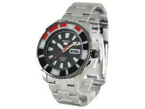 Seiko SRP207 Stainless Steel Seiko 5 Sports Automatic Black Dial Day Date Red and Black Bezel