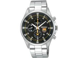 Seiko SNDD23 Stainless Steel F.C Barcelona Chronograph Quartz Black Dial