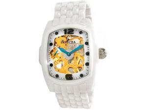 Invicta 1114 Men's Lupah Gold Skeleton Dial White Ceramic Mechanical Watch