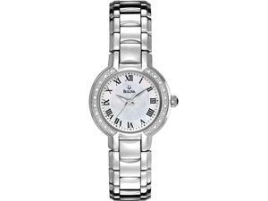 Bulova 96R159 Stainless Steel Mother of Pearl Diamond Dress Watch