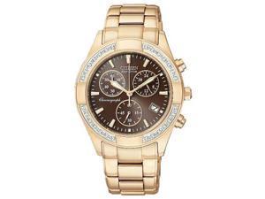Citizen FB1223-55X Gold Tone Eco-Drive Regent Chronograph Brown Dial with Diamonds