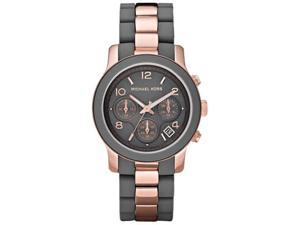 Michael Kors Silicone Runway Rose Gold-tone Chronograph Ladies Watch MK5465