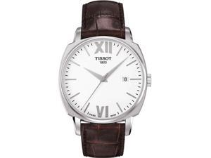 Tissot T0595071601800 Stainless Steel Case Quartz White Dial Date Display Brown Leather Strap