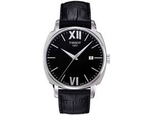 Tissot T0595071605800 Stainless Steel Case Quartz Black Dial Date Display Black Leather Strap