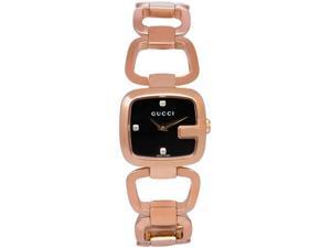 Gucci G Black Diamond Dial Rose Gold PVD Stainless Steel Ladies Watch YA125512