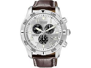 Citizen BL5470-06A Stainless Steel Case Eco-Drive Chronograph Alarm Perpetual Calendar Silver Dial Brown Leather Strap