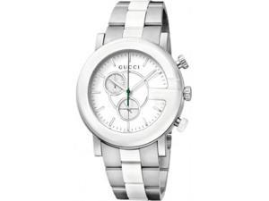 Gucci YA101345 Gucci G-Timeless Stainless Steel Case and Bracelet White Dial Chronograph