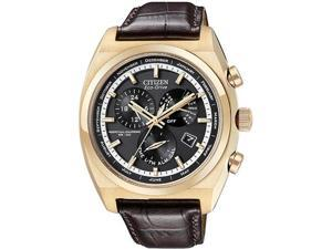 Citizen BL8123-03E Eco-Drive Calibre 8700 Gold Tone Stainless Steel Case Black Dial Perpetual Calendar Alarm Brown Leather ...