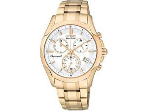 Citizen FB1153-59A Eco-Drive Gold Tone Stainless Steel Case and Bracelet White Dial Chronograph Date Display