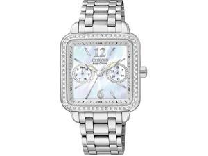 Citizen FD1040-52D Eco-Drive Silhouette Mother Of Pearl Dial Swarovski Crystal Bezel Day and Date Display